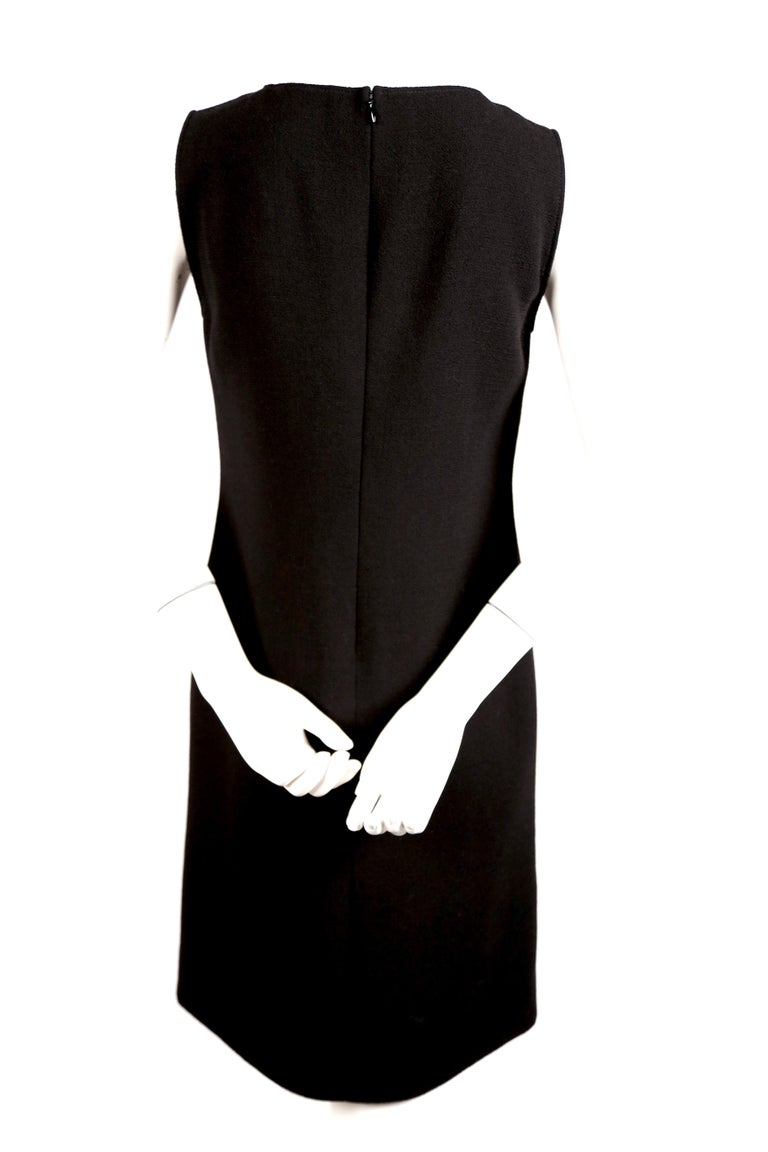 1970's PIERRE CARDIN haute couture wool shift dress with circular cut-outs 1