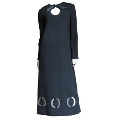 1970s Pierre Cardin Midi Dress with Cut out Hem