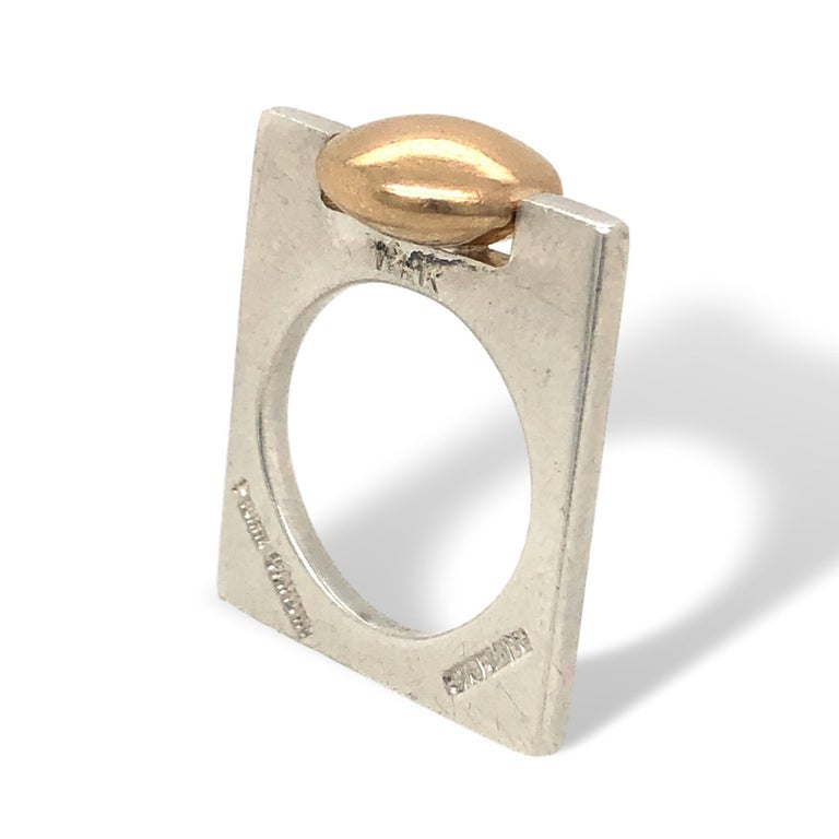 Minimalist sterling and gold ring for Pierre Cardin. The 1 1/8