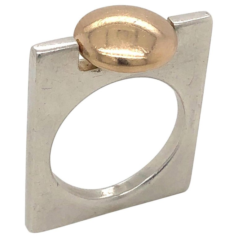1970s Pierre Cardin Minimalist Sterling and Gold Ring For Sale