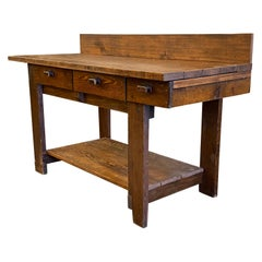 1970s Pine Industrial Work Bench Table with Three Drawers with Bottom Shelf