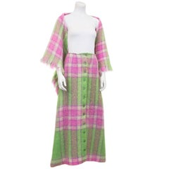 1970s Pink and Green Mohair Plaid Skirt and Shawl