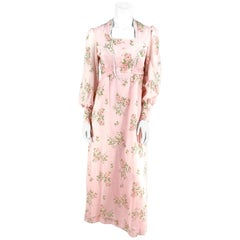 1970s Pink Cottage Floral Printed and Flocked Dress