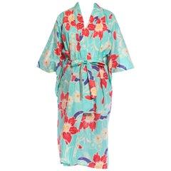 1970S Pink Floral On Aqua Cotton Japanese Kimono Robe With Sash Belt