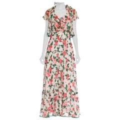 1970S Pink & Green Floral Cotton Blend Voile Romantic Lawn Party Dress Jacket