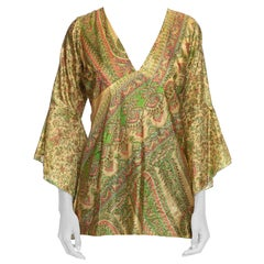 1970S Pink & Green Silk Hand Printed Indian Paisley Blouse