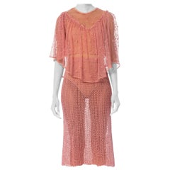 1970S Pink Hand Crochet Cotton Net Crop Top & Skirt Ensemble