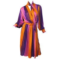 1970s Pink + Orange + Purple Striped Slinky Vintage 70s Scarf Wrap Dress