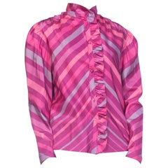 1970S Pink  & Purple Silk Taffeta Bias Cut Chevron Ruffled Blouse