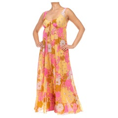 1970S Pink & Yellow Nylon Tricot Jersey Floral Print Empire Waist Negligee Dress