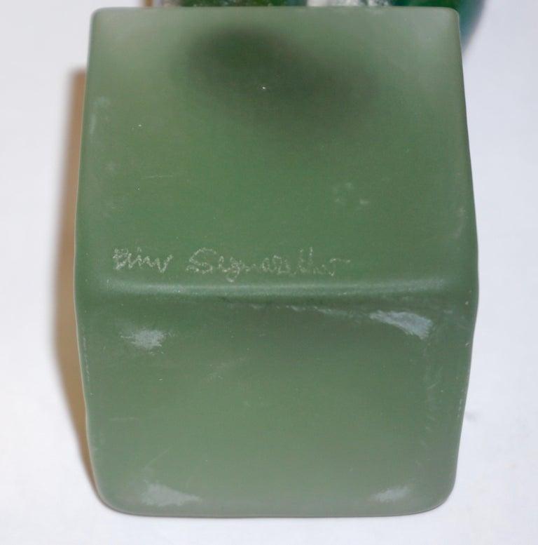 1970s Pino Signoretto Italian Seafoam Green Scavo Murano Glass Nude Sculpture For Sale 3