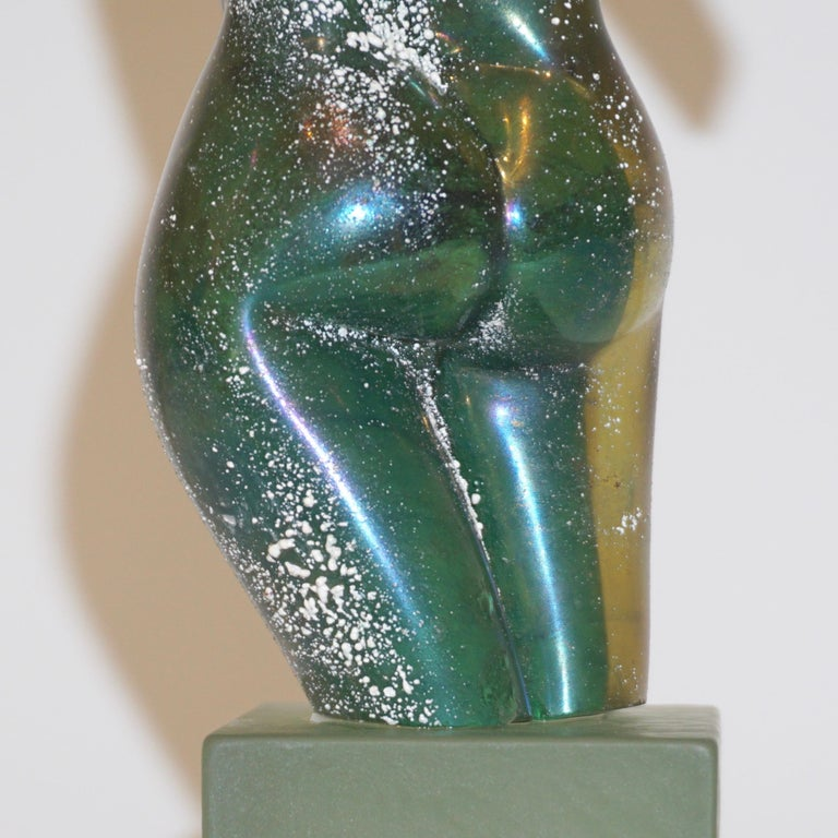 Pino Signoretto 1970s Italian Seafoam Green Scavo Murano Glass Nude Sculpture For Sale 4