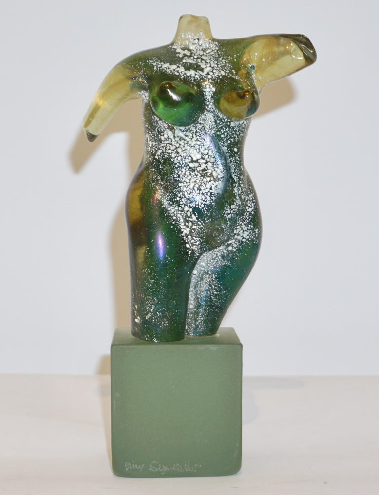 Pino Signoretto 1970s Italian Seafoam Green Scavo Murano Glass Nude Sculpture For Sale 5