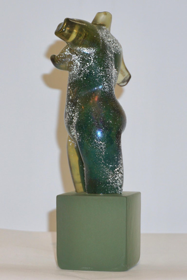 Mid-Century Modern Pino Signoretto 1970s Italian Seafoam Green Scavo Murano Glass Nude Sculpture For Sale