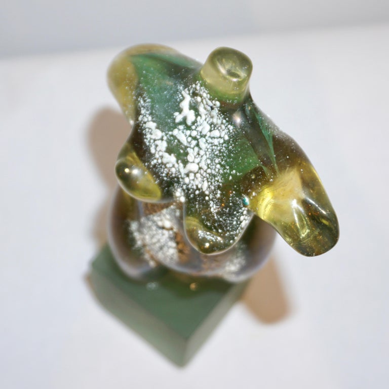 Pino Signoretto 1970s Italian Seafoam Green Scavo Murano Glass Nude Sculpture In Excellent Condition For Sale In New York, NY