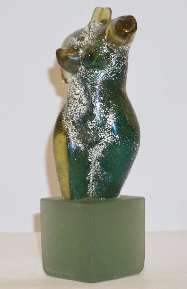 1970s Pino Signoretto Italian Seafoam Green Scavo Murano Glass Nude Sculpture For Sale 2
