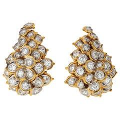 1970s Platinum & 18 Karat Yellow Gold Estate 5.00 Carat Diamond Estate Earrings
