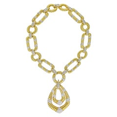 1970's Platinum & 18K Yellow Gold Twist Open Link Diamond Accented Necklace