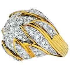 1970s Platinum and 18 Karat Yellow Gold Dome 5.50 Carat Diamond Ring