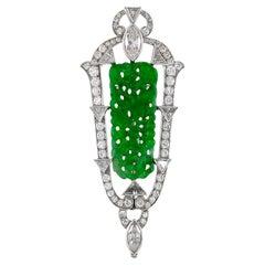 1970s Platinum and Center Jade Pendant