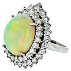 1970s Platinum Large Fire Opal and Diamond Ring