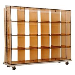 1970's Plexiglass Bookcase on Wheels by Michel Dumas for Roche Bobois