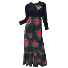 1970s Poinsettia Print Embroidered Beaded Velvet Velour Holiday Maxi Dress Gown