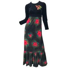 1970s Poinsettia Print Embroidered Beaded Velvet Velour Holiday Maxi Dress Gown