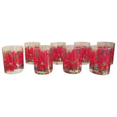 1970s Pointsetti Red Low Tumbler Glasses 8