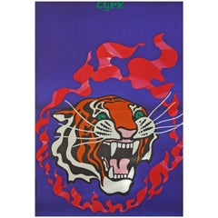 1970s Polish Cyrk Circus Poster Tiger Flame Design Art