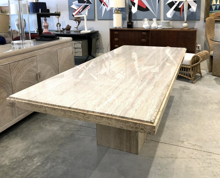 1970s Polished Italian Travertine Stone Dining Table For Sale At 1stdibs