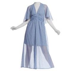 1970S Polka Dot Cotton Jumpsuit With Detachable Cape
