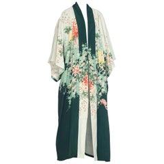 1970s Poly blend Gradient green floral kimono