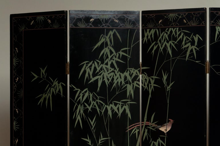 1970s Polychromed Gold Leaf Chinoiserie Double Face Folding Green / Room Divider 7