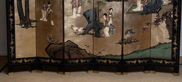 1970s Polychromed Gold Leaf Chinoiserie Double Face Folding Green / Room Divider 1