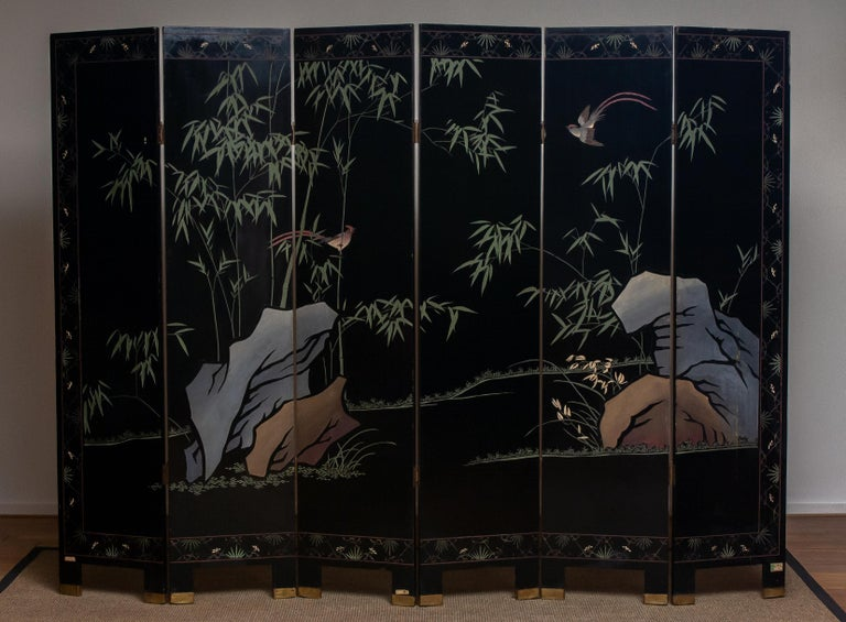 1970s Polychromed Gold Leaf Chinoiserie Double Face Folding Green / Room Divider 3