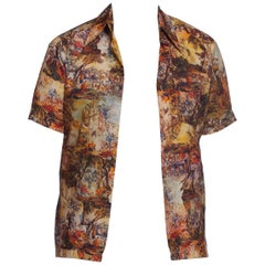 1970S Polyester Baroque Scenic Paintings Photo-Print Men's Shirt