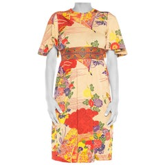 1970S Polyester Jersey Japanese Print Short Sleeve Dress With Elastic Waist