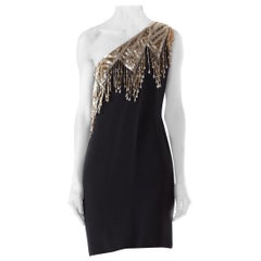 1970S  Polyester One Shoulder Dress With Beaded Fringes