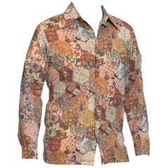 1970S Polyester Patchwork 1700S Americana Printed Men's Shirt