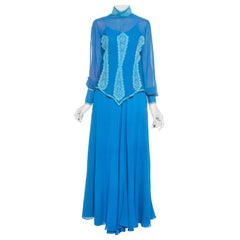 1970S ENZO RUSSO COUTURE Blue Silk Chiffon Victorian Style Dress With Lace Blou