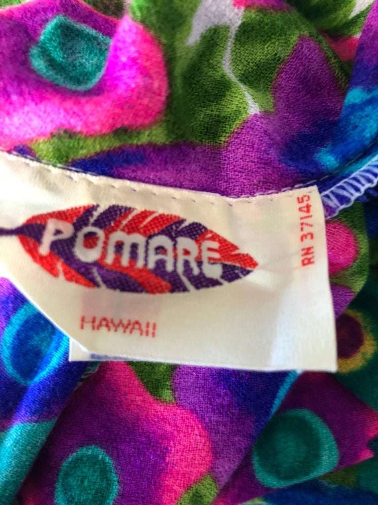 1970s Pomare Hawaiian Vintage Colorful Tropical Print Halter Wrap 70s Maxi Dress For Sale 5