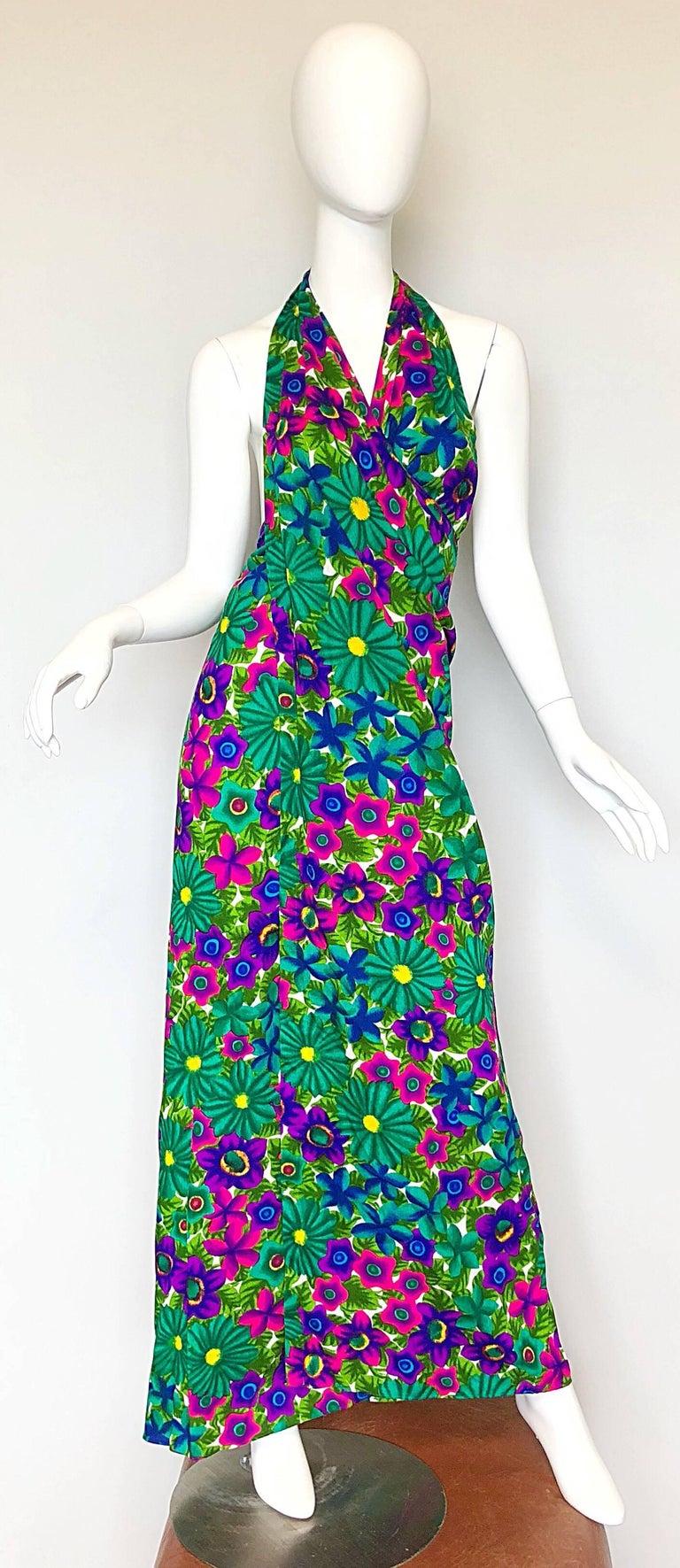 Blue 1970s Pomare Hawaiian Vintage Colorful Tropical Print Halter Wrap 70s Maxi Dress For Sale