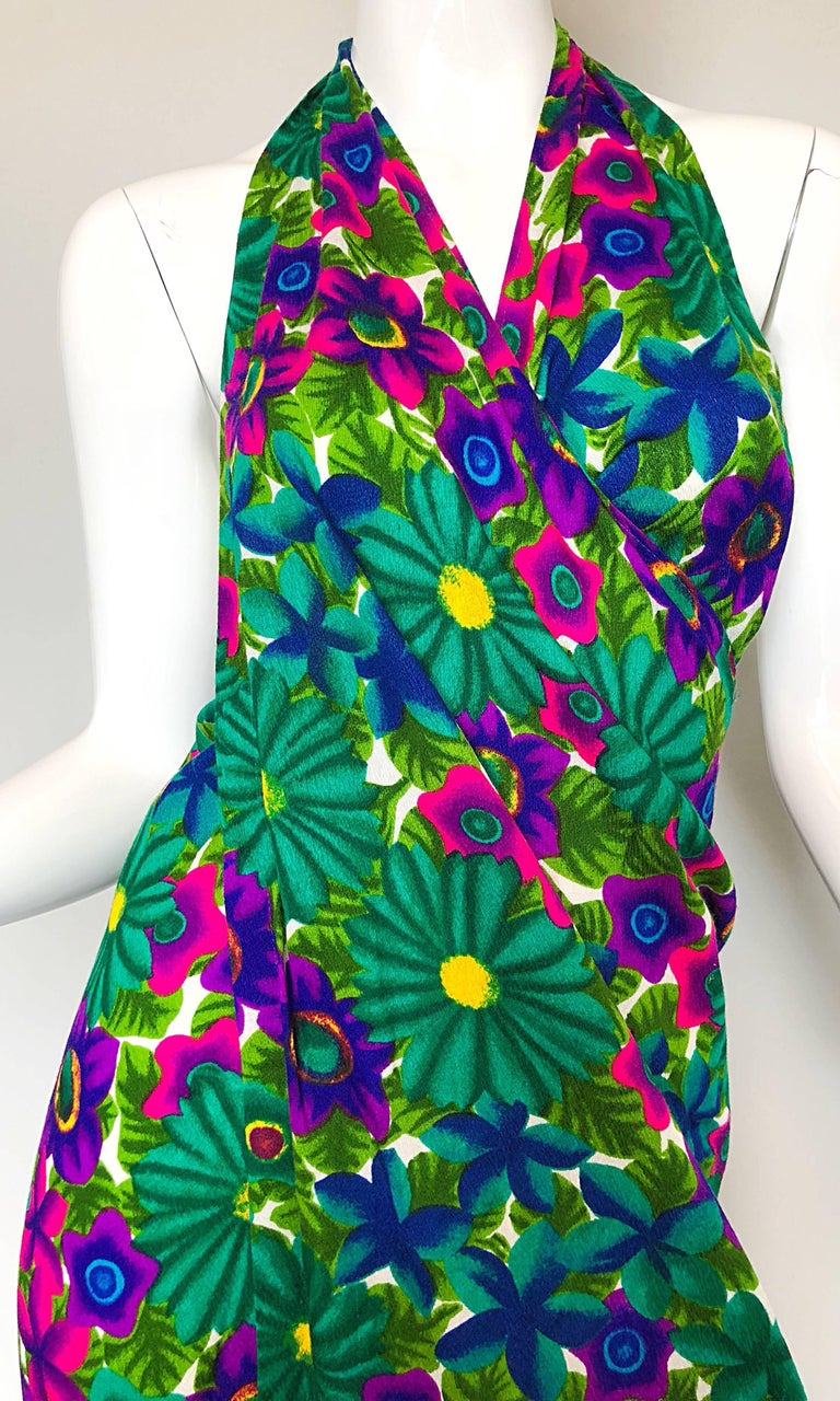 1970s Pomare Hawaiian Vintage Colorful Tropical Print Halter Wrap 70s Maxi Dress In Excellent Condition For Sale In Chicago, IL