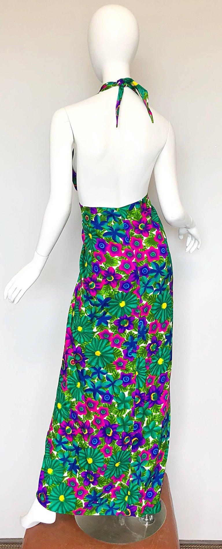 Women's 1970s Pomare Hawaiian Vintage Colorful Tropical Print Halter Wrap 70s Maxi Dress For Sale