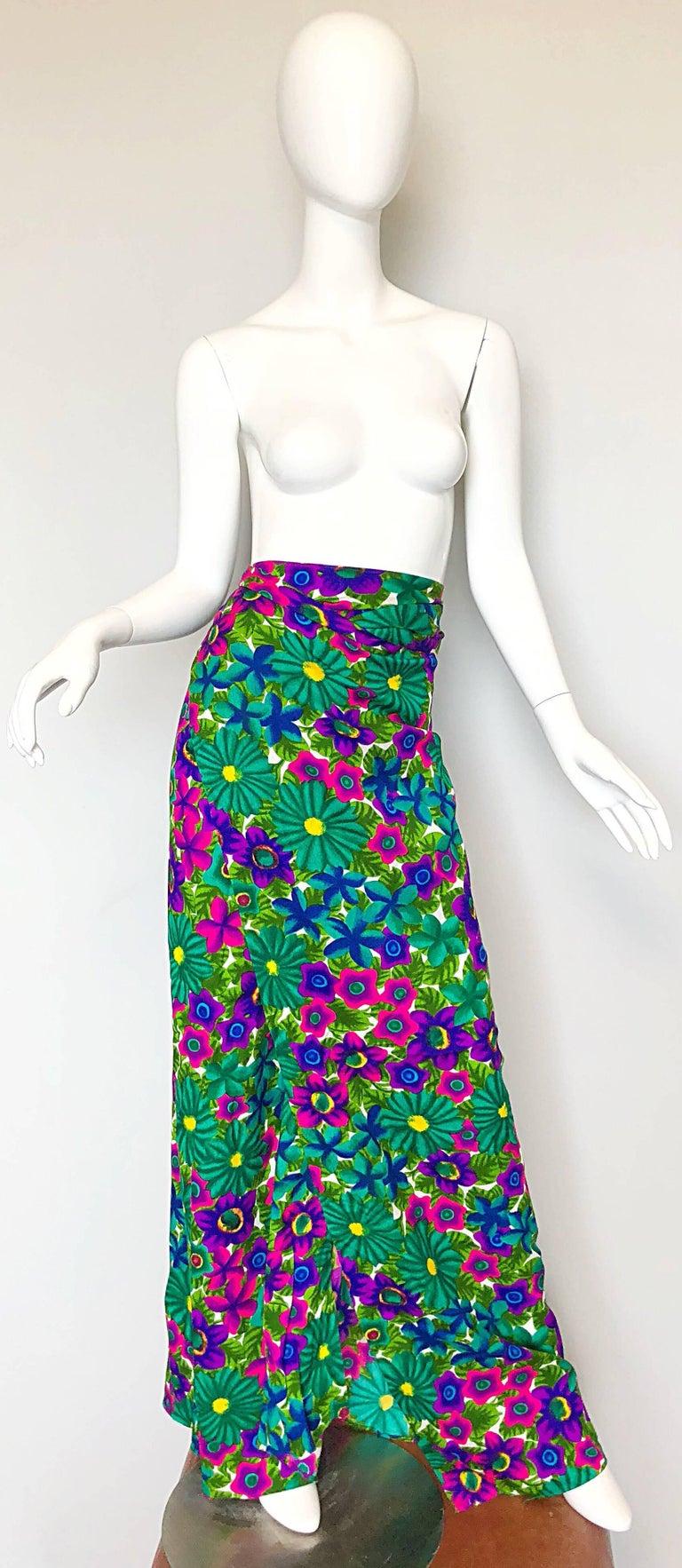 1970s Pomare Hawaiian Vintage Colorful Tropical Print Halter Wrap 70s Maxi Dress For Sale 1