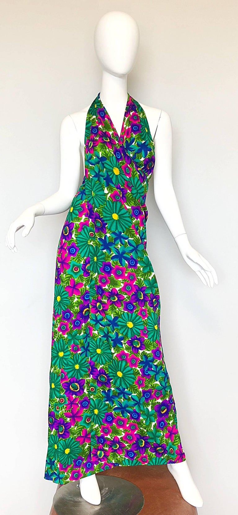 1970s Pomare Hawaiian Vintage Colorful Tropical Print Halter Wrap 70s Maxi Dress For Sale 4