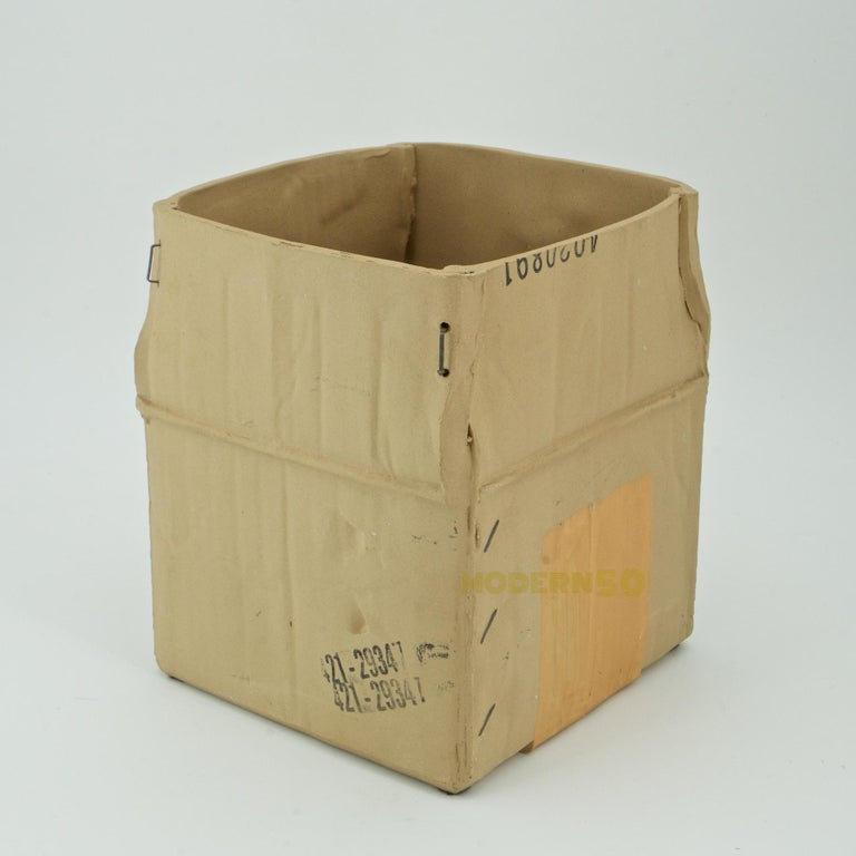 Mid-Century Modern 1970s Pop Art Ceramic Hypereal Sculpture Cardboard Box Flower Vase Warhol Era For Sale