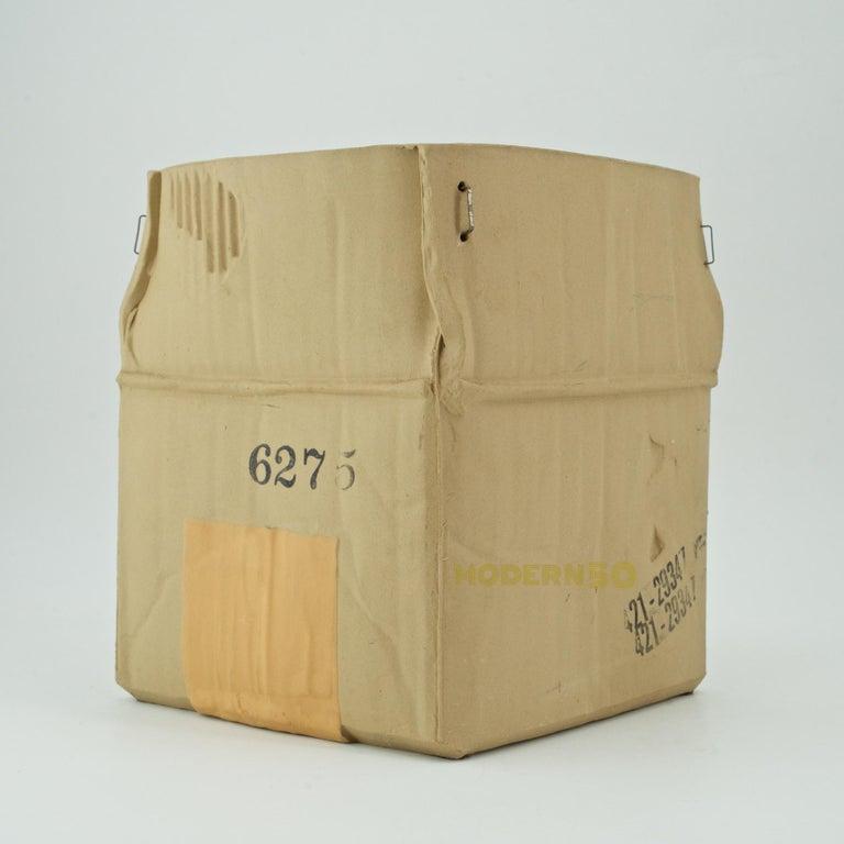 Canadian 1970s Pop Art Ceramic Hypereal Sculpture Cardboard Box Flower Vase Warhol Era For Sale