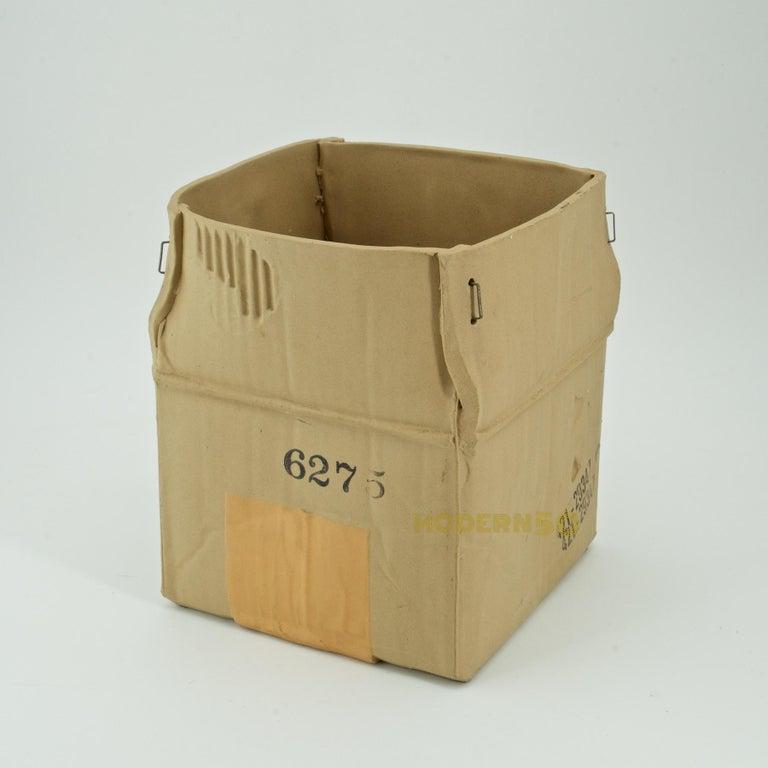 Unglazed 1970s Pop Art Ceramic Hypereal Sculpture Cardboard Box Flower Vase Warhol Era For Sale